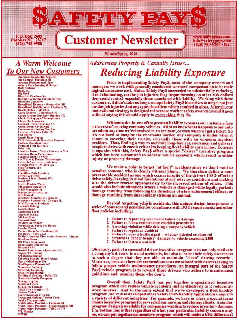 Safety newsletter side 1